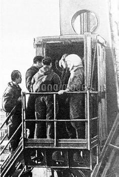 Gagarin on launchpad, Vostok-1, 1961
