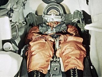 Gagarin inside capsule of Vostok-1, 1961