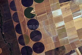 Centre pivot irrigation, ISS image