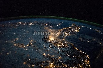 Europe at night, ISS image