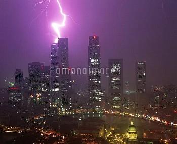 Lightning bolt strikes a skyscraper