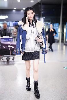 Chinese Model Ming Xi at Shanghai Airport