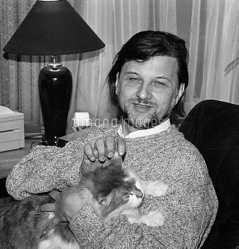 Composer Alexei Rybnikov with  his pet cat.    ©RIA Novosti / TopFoto