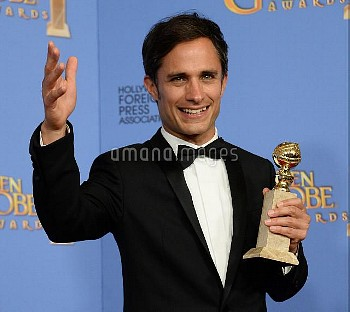 Gael Garcia Bernal wins an award at the 73rd annual Golden Globe Awards in Beverly Hills