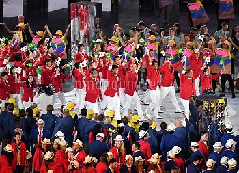 Athletes of Japan at Opening Ceremony of Rio Olympics