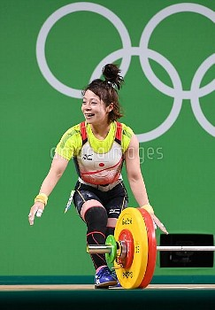 Japan's Hiromi Miyake in Women's 48KG weightlifting at 2016 Rio Summer Olympics