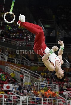 Japan's Kato competes in the Men's Artistic Gymnastics qualifications of the 2016 Rio Summer Olympic