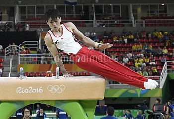 Japan's Uchimura competes in the Men's Artistic Gymnastics qualifications of the 2016 Rio Summer Oly