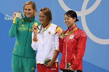Mireia Belmonte, Madeline Groves, and Natsumi Hoshi medal in the Women's 200M Butterfly at the 2016