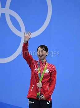 Natsumi Hoshi of Japan celebrates her bronze in the Women's 200M Butterfly at the 2016 Rio Olympics