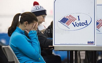 Voters fill out ballots in Alexandria, VA