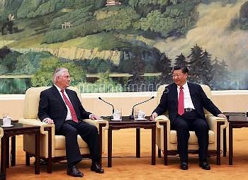 中国の習主席とティラーソン米国務長官が会談 Secreatary Tillerson meets President Xi in Beijing, China