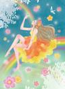 虹に座る春の女神と青い鳥