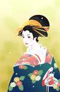 金魚を持つ日本美人の女性