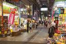夜の平和通り商店街