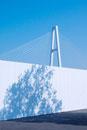 白い壁越えに見える早朝のトリトン橋