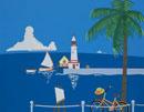 灯台のある風景の切り絵