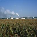 トウモロコシ畑とバイオエタノール精製所
