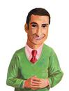 ピンクのシャツに赤いネクタイ、緑色のセーターを着た男性