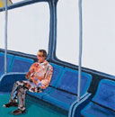 バスの座席に座る男性 コラージュ