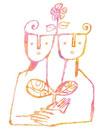 双葉を抱える二人の人間
