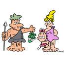 お父さんがトカゲを持っている石器時代の家族