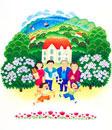 自然の中の家と6人家族