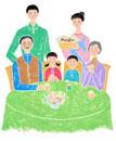 テーブルでパンを食べる3世帯の6人家族
