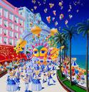 海辺のカーニバル、ヤシの木と風船が舞う絵