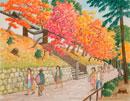 水彩「京の四季」 曼殊院の紅葉 左京