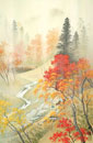 四季の山水画 紅葉と秋雨 9/10月