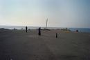 海辺を散歩する人々