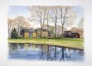 家の側にある湖の風景 秋 水彩イラスト