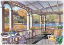 湖が前にあるポーチの風景 秋 水彩イラスト