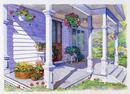 花がある家の玄関 水彩イラスト