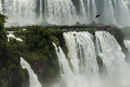 Iguacu Falls with tourists on walkway and turkey vulture in