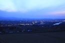 戸外炉峠駐車公園から眺める深川市街の夕景