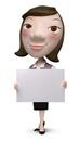 メッセージボードを持った女性事務員クラフト