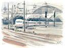 ケルン駅を出発するICE