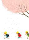 満開の桜の木の下を走る小学一年生たち