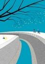 川沿いをサイクリングする男女