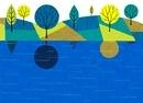 水面に映る木々
