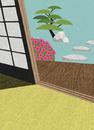 和室から縁側越しに見える庭