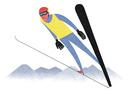 スキージャンプをする男性