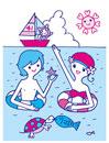 海でのカップル