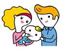 赤ちゃんにミルクを飲ませる母親と父親