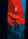 赤い部屋で眠る女性