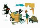 倒れた荷車に群がる亀とカラスと犬と宙釣りのロバと男性