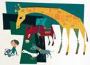 絵本を見る子供と動物達