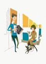 電車の中のアコーディオン奏者と本を読む女性